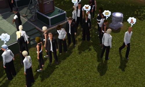 There is a glitch at the park and it causes a never ending SimFest. I brought my sim there to check it out and there were about 25 people in black and white and all of them were the proprietors of the park. And they were all pretending they were watching a show. I felt my sim was slightly under dressed