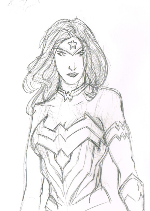 quotidianartistry:   kjdawson80 again. Hi hi! Wonder Woman, looking pissed. Pencil, paper, ref. 30 minutes or so. Listened to some System of a Down and some Perfect Circle while sketching. C&C is more than welcome :D :D :D   I drew this Wonder Woman fanart for QuotidiaArtistry tonight. Wonder Woman FTW!