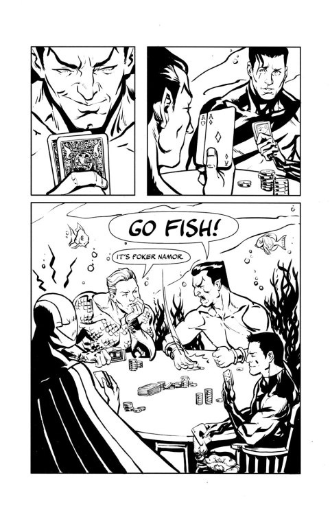 GO Fish! by Dave Stokes This is a crazy commission of underwater comic characters that i got Dave Stokes to do for my myself.Let's be honest if you've been following me for awhile, you've seen that i do have some off the wall requests for commissions. Thankfully Dave Stokes was able to take my idea and blow it out of the water with his awesome art skills! We have our four underwater characters: Aquaman, Namor, Stingray & Tempest in a friendly inter-dimensional underwater poker match, but alas poor Namor thinks they're are Go Fish! As with my previous commission from Dave Stokes, this piece is Amazing and he has captured these characters perfectly! Although Dave isn't attached to any book at the moment, he has done cover art for an issue of Hypergirl. Here's hopping someone snaps him up soon! If you would like to see more of Dave Stokes art you can check out on various websites. He posts alot of Sketches on his Twitter and Blog: Twitter - http://twitter.com/davestokesBlog - http://stokesbook.blogspot.com/DeviantArt - http://stokesbook.deviantart.com/Tumblr - http://davestokes.tumblr.com/ Truly Amazing!