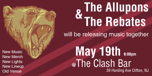https://www.facebook.com/events/331064333609540/ May 19th @ The Clash Bar. Free limited edition CD's released at the show!