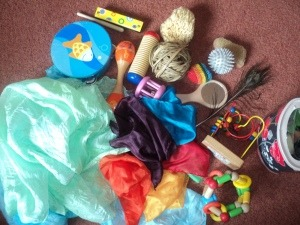 (via Playing with the sensory basket « Pyjama School) More comfort corner / calm down sensory toy ideas