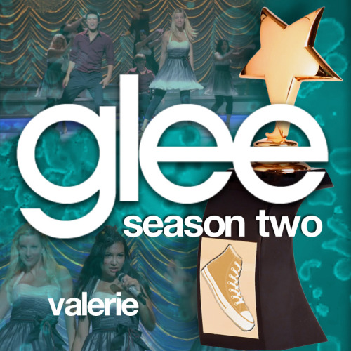 "lets-duet:  A Glee album cover (with Season 2 trophy) for ""Valerie"", as sung by Naya Rivera with the cast of Glee, featuring a special dance accompaniment by Heather Morris and Harry Shum Jr., from Episode 2x15 ""Sexy"" in my Splatter Backdrop style."