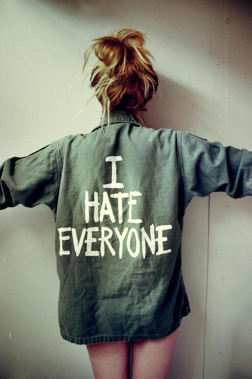 "jacvanek:  ""I HATE EVERYONE"" jackets now available on www.jacvanek.com! The time has finally come!  I HATE EVERYONE one size fits most Vintage Unisex Army Jacket.  100% cotton.  Army Green with White graphics on back.  Assorted patches.   You know you're thinking it, so why not wear it plastered on your back for the world to see?  Each ""I HATE EVERYONE"" jacket has been hand picked by Jac herself (assuring the best vintage quality) and screen printed with love.  These jackets are worn in, extremely comfortable, and lightweight.  Each jacket has unique patches and name tags.  Looks great paired with high waisted jean shorts, a crop top, and chunky platforms.  Perfect for a summer cover-up! Get them before they're all gone! http://store.jacvanek.com/ProductDetails.asp?ProductCode=I+HATE+EVERYONE+ARMY+JACKET WWW.JACVANEK.COM  WWW.JACVANEK.COM  WWW.JACVANEK.COM  WWW.JACVANEK.COM"