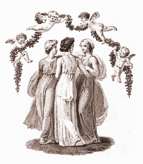 The Three Graces. Frontispiece to Mark Akenside, Pleasures of imagination, with an introduction by Letitia Barbauld (London: T. Caddell, Jr. and R. Davies, [1794]). Artist: T. Stothard. Engraver: L. Neagle.