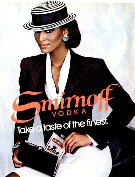 "1980s Advertising: ""The scale of feminine beauty and success widened in the 1980s and 1990s to include more variables of age. ethnicity, and accomplishment."" Compare this Smirnoff ad to the clip from the Cosby show. To me this woman looks exactly..."