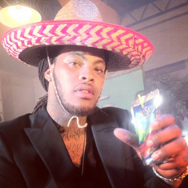 "cattmoop:  ""Wakeem Alejandro Flame quenches his thirst!!!!!"" -Waka Flocka Flame (instagram)"