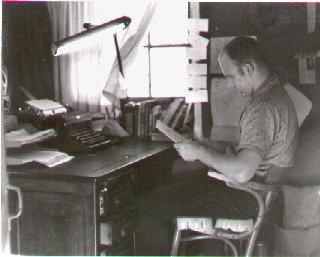 Ken Kesey working on Sometimes a Great Notion (1962)