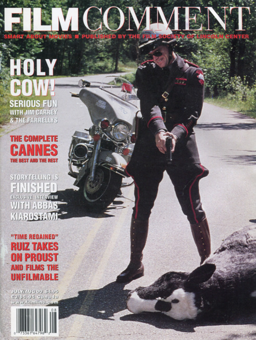 Jim Carrey is uncowed on the cover of Film Comment. July/August 2000.
