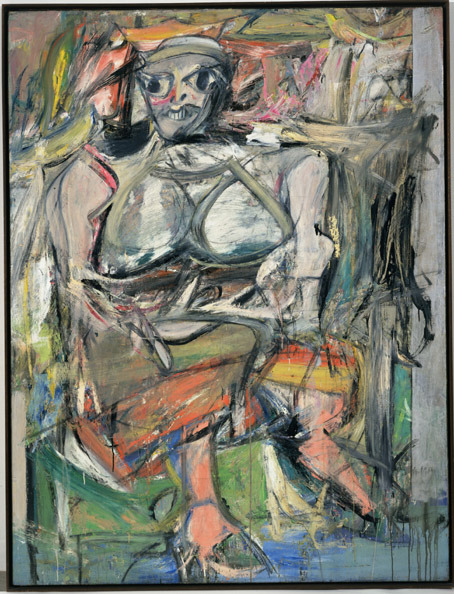 "an-artwork-a-day:  Willem De Kooning (American, born the Netherlands, 1904-1997, American Abstract Expressionism),Woman I, 1950-52. Oil on canvas, 6' 3 7/8"" x 58"" (192.7 x 147.3 cm). MoMA New York.  De Kooning would have been 108 years old today!"