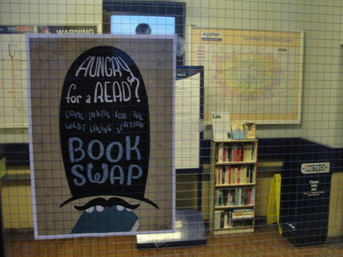 "unconsumption:  A group known as Book Swaps for London aims to establish a city-wide ""book-sharing scheme in London's tube and train stations.""  Shelves are established in stations, and commuters can use them to pick up books they would like to read and drop off books that they want to give away. This scheme builds on already successful ones such as Bookcrossing and local pub and hostel swap schemes.  (via Do The Green Thing: Books in unusual places)  LOVE this. I sure could've used it when I lived in London…."