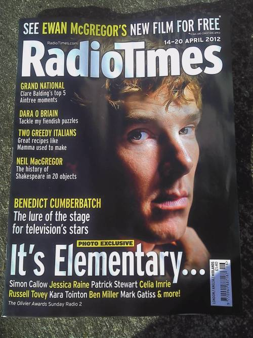 Benedict Cumberbatch on the front cover of the new issue of Radio Times, out today in the UK. The issue includes a half page piece written by Danny Boyle, much of which is already online HERE, as well as small features on Mark Gatiss and Russell Tovey.