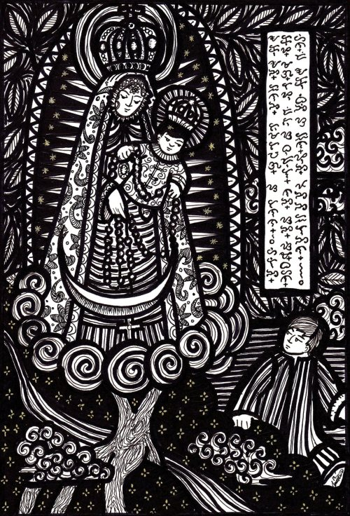 "theredboxer:  ""THE VIRGIN AND CHILD OF MANAOAG"" / ""DIMAD APO YA MANTATAOAG"" by J.A. Austria, pen-and-ink on paper, 11 1/2 x 8 1/4 inches. From the series Kuanyin and Mary: The Anima Archetype as Compassion. Completed 09 April 2012 - Manila.  ""The first in a series of inks entitled Kuanyin and Mary: The Anima Archetype as Compassion"" . It's a portfolio of 20-something print-like inks that will deal with the various manifestations of Mary and the bodhisattva Kuanyin as compassion figures. This piece is the ""green light"" for the project, based on the story of the Virgin of Manaoag.  According to legend, the Virgin Mary appeared to a young farmer sometime in the 1600's. At first the man only heard a beautiful voice calling his name [taoag]. When he turned his eyes to the hill where the call is coming from, he saw a beautiful woman made up entirely of light, carrying a cute baby and a rosary.  It is  a narrative in the pattern of European ""apparition legends"". But it seems that in the colonial Philippines, the Virgin was not of a prophet of impending doom—but a compassionate healer of sicknesses and other human miseries.  Her message was brief and simple. Her wish was that a chapel be erected on that hill and promised that she will heal / comfort all the sick and troubled people who asks for her intercession.  The story is rich in archetypal symbols of the sacred feminine or anima: the madonna and child motif [a symbol of wholeness], her appearance atop a tree [axis mundi motif], the later appearance of healing water…all these are classical symbols of the healing qualities of the positive anima.  But what really strikes me is the element of ""calling"". The lady was in fact known to the people as Dimad Apo ya Mantatawag—the lady / woman who calls. From the spiritual point of view, she's the compassion of the Sacred calling people to come and receive her maternal embrace. And I guess that message remains as poignant as it was 400 years ago. The Basilica of Manaoag [which houses an ivory image of the Virgin Mary] is probably the most popular shrine celebrating the Sacred Feminine in the Philippines. She called only once…but it still echoes for the past four centuries."