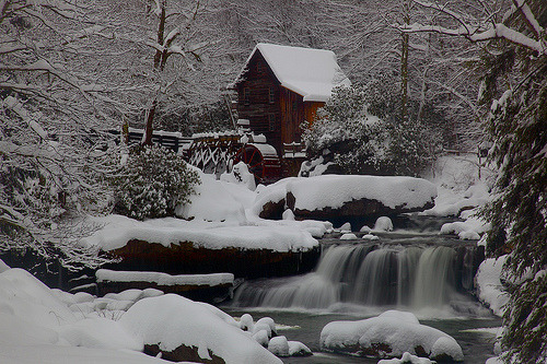 simplynorule:  West Virginia Gristmill Waterfall Winter Snow (by ForestGladesiWander)