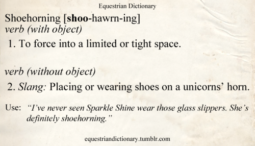 "Shoehorning [shoo-hawrn-ing] verb (with object) 1. To force into a limited or tight space. verb (without object) 2. Slang: Placing or wearing shoes on a unicorn's horn. Use: ""I've never seen Sparkle Shine wear those glass slippers. She's definitely shoehorning."""