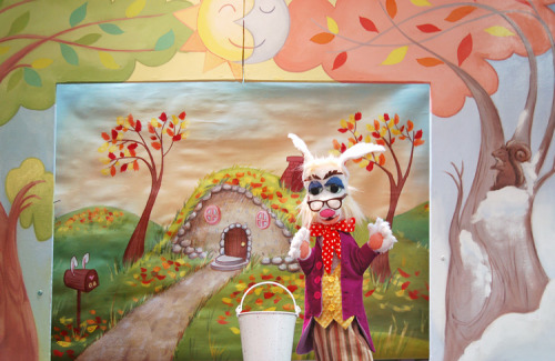 Grandpa Bunny's Egg-citing Day Scenic Paintings for The Puppet Company2012 Three roll drops and a proscenium for this show about the changing of the seasons. Puppets by Randal Metz.