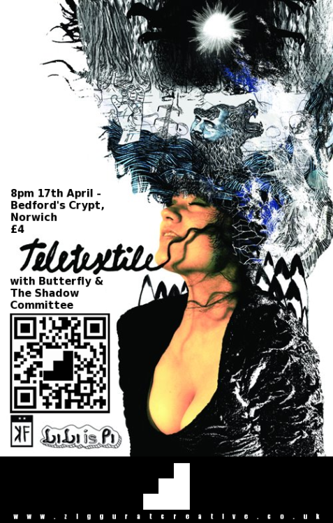 Gig - Ziggurat Creative Presents… Teletextile (NYC) - Bedford's Crypt - 17.04.12 - £4adv Avant-pop from New York City. With support from Butterfly & The Shadow Committee. Facebook Words / Tickets