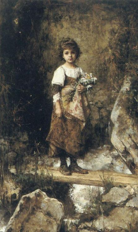 oilpaintinggallery:  A Peasant Girl on a Footbridge Artist: Harlamoff Alexei