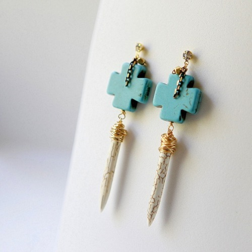 DIY Spike and Cross Earrings. Really detailed step-by-step tutorial by hello Whimsy here. *If you are having trouble finding any of these beads locally, check Ebay or Etsy.