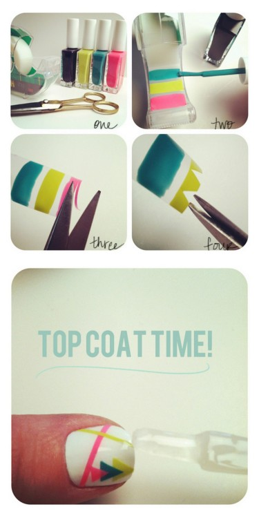 truebluemeandyou:  DIY Nail Sticker Decals Using Scotch Tape. This is similar to Small Good Things' technique here. Tutorial from The Beauty Department here.