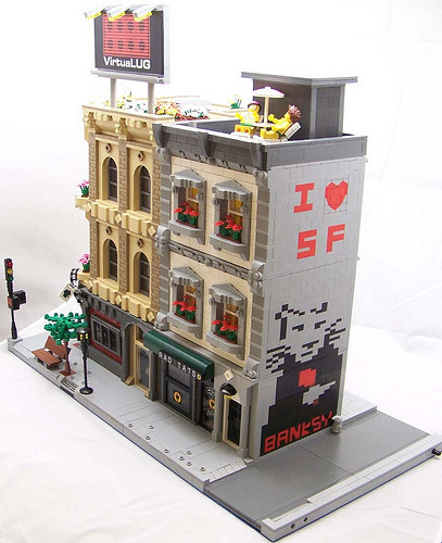 banksystreetart:  Together at last: LEGO and the world's favourite übertagger.  Haha fantastic!