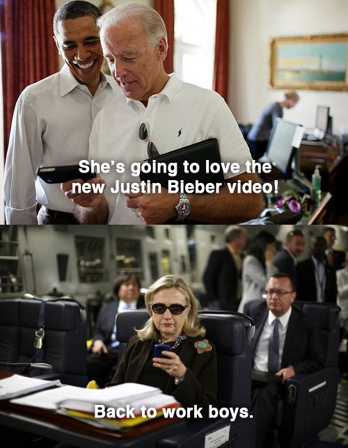 textsfromhillaryclinton:  Thanks to @CapitolHillKid and @AdamConner for finding the photo. Original image by Kevin Lamarque for Reuters.