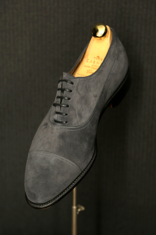 lnsee:  Carmina Balmoral shoes in Gray Suede.  Amazing.   Stop by our trunkshow in London, April 20 and 21st for MTO shoes by Carmina.  Book now to reserve a spot.  MTO Shoes start at 5700 HKD!!