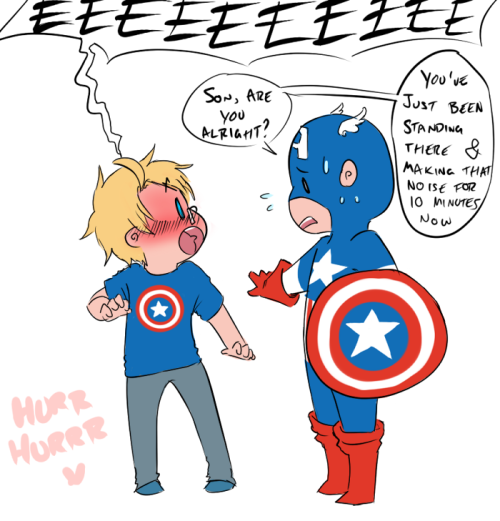 hurrhurrr:  Anon4 wanted Alfred fanboying over Captain America haha I didn't know if you meant Movie Captain America or Comicbook Captain America. So I just went for the original since I guess Alfred would be like a comicbook excpert =u='.  and now I should be getting ready to go see my niece QuQ <333  PS! the requests are CLOSED guys. I'm not doing anymore except the ones that made the cut, okay?