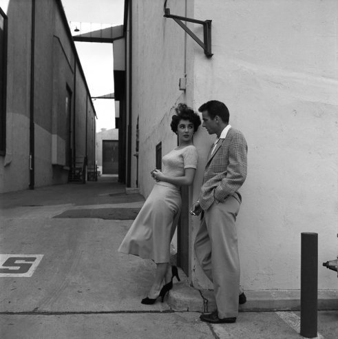 Unpublished. Elizabeth Taylor (all of 17 years old) and Montgomery Clift pose together at Paramount Studios during a break in filming A Place in the Sun.
