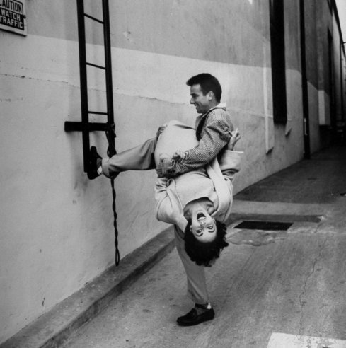 Unpublished. Elizabeth Taylor and Montgomery Clift goof around during a break in filming A Place in the Sun.