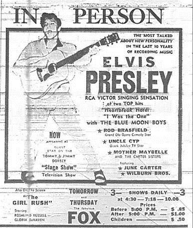 Atlanta Journal-Constitution advertisement for Elvis at the Fox Theatre. March 13th, 1956