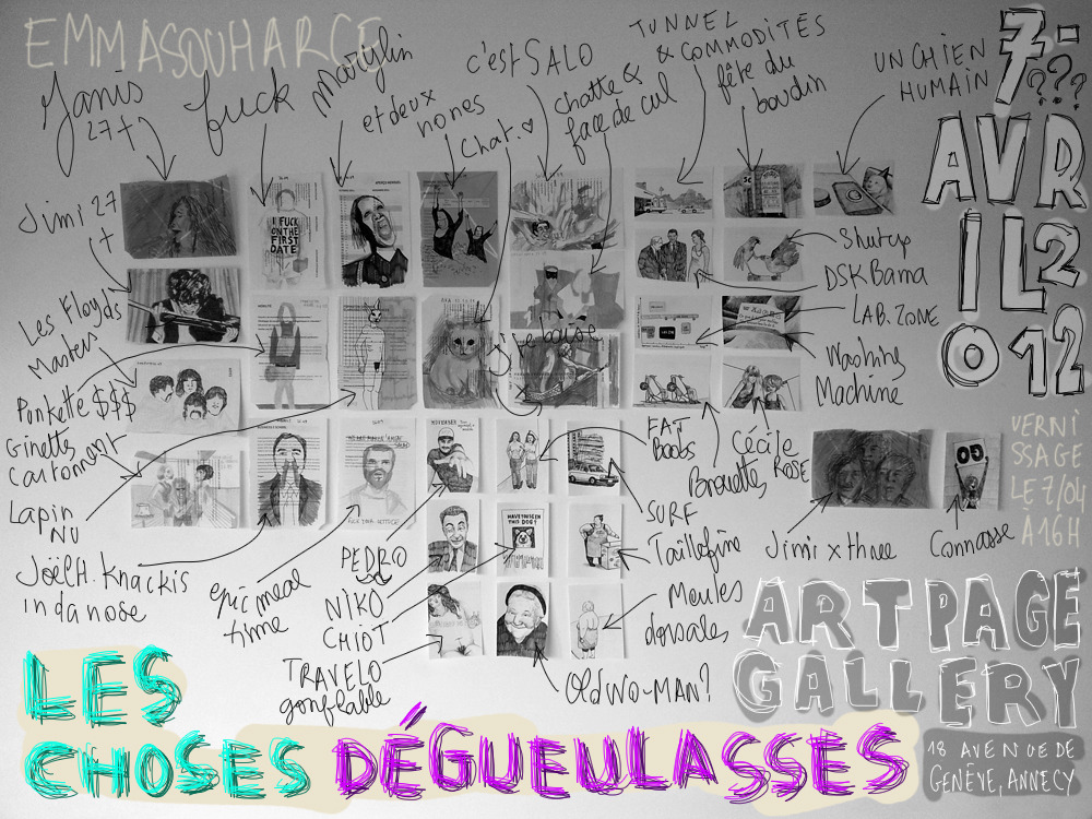 "Flyer of the exhibition ""Les choses dégueulasses"" at Artpage Gallery"