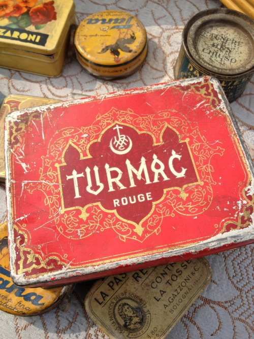 Turmac rouge box at the flea market, Milano, Italy Taken with iPhone