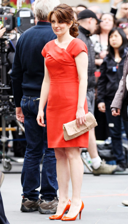 Tina Fey filming 30 Rock in NYC (4/9/12).