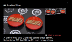Decided to older a complete new set of BBS centre caps from JUSTMATZ. RED & GOLD baby.