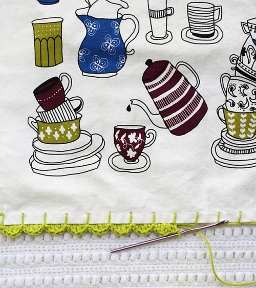Adding a crochet edge to a tea towel via One Sheepish Girl