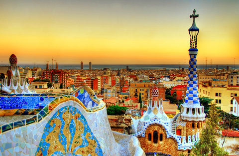 alextravelarchitecture:  Just booked up for Barcelona, Spain for 4 days in May. This will be my second visit to Barcelona, here is an image I found online of the beautiful Parc Guell - Antonio Gaudi, with the cityscape in the background.   headed to Parc Guell, La Sagrada Familia, La Perdera, and Casa Batllo EARLY in the morning with Caitlin-we are going to attempt to use the Barcelona metro with only a little bit of a handle on the language…BUT AT LEAST ITS PRETTY RIGHT?!  Keep your eyes peeled SATURDAY for text updates and photo posts about our weekend trip to Barcelona! ITS BEEN AWESOME (even though we haven't gone out once because the MINISTRY OF SOUND IS CALLING US)