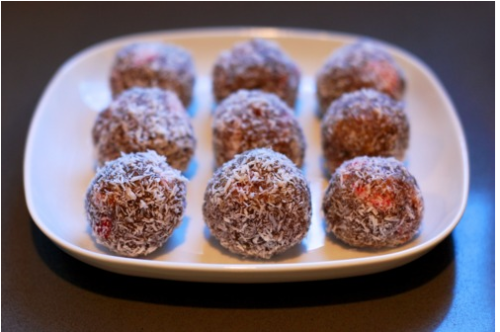 Primal Blueprint Nutty Strawberry Protein Balls.  Perfect sweet snack except..I think a name change is in order, perhaps, Amazeballs? (eyebrows raised a la Dr. Evil) *sidenote I wish this woman would cook for me.  Everyday.