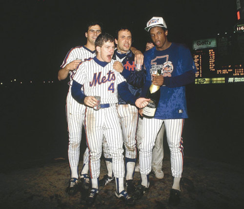siphotos:  Lenny Dykstra (4) celebrates with teammates Rick Aguilera, Bob Ojeda and Dwight Gooden after defeating the Red Sox in Game 7 of the 1986 World Series. The Mets are off to a perfect 4-0 start. Is another World Series in their future? (Ronald C. Modra /SI) GALLERY: Remembering the 1986 World SeriesCORCORAN: Five thoughts on a wild opening weekend