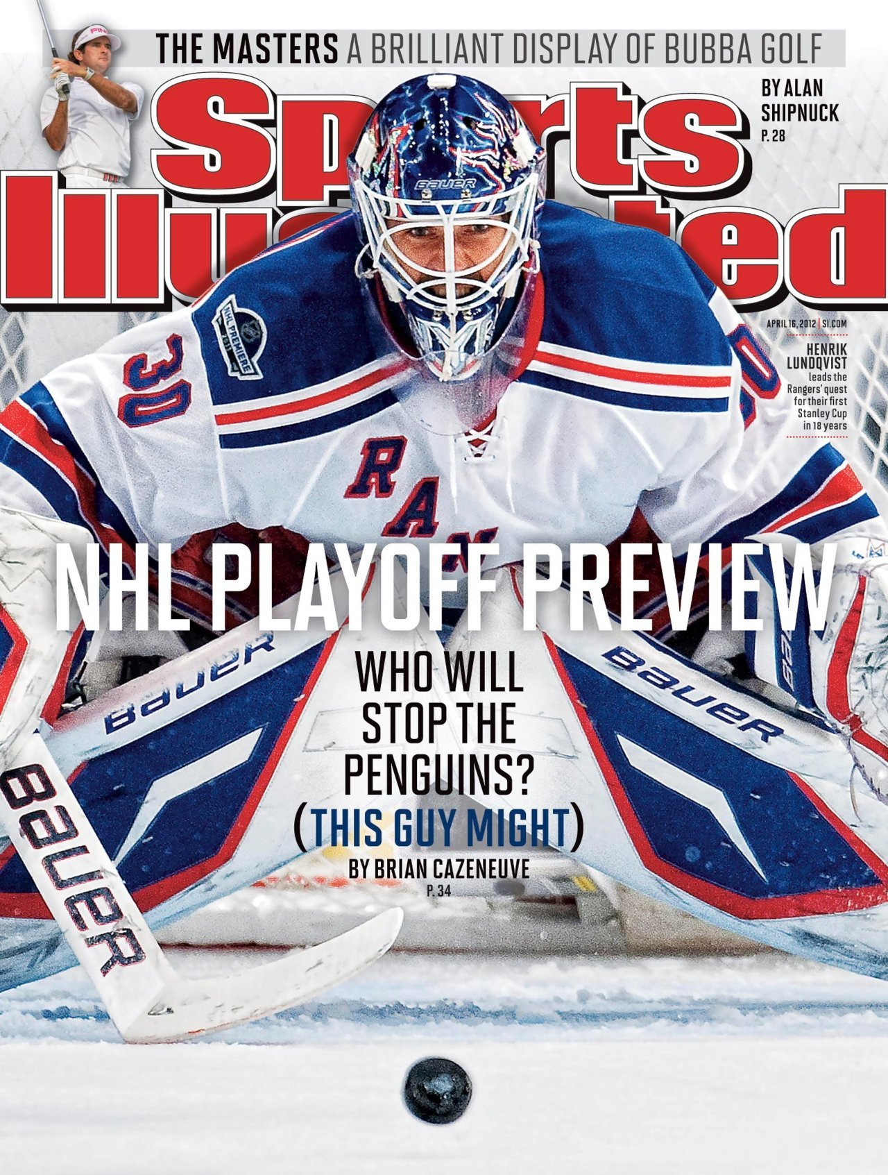 New York Rangers goalie Henrik Lundqvist on the cover of this week's Sports Illustrated.