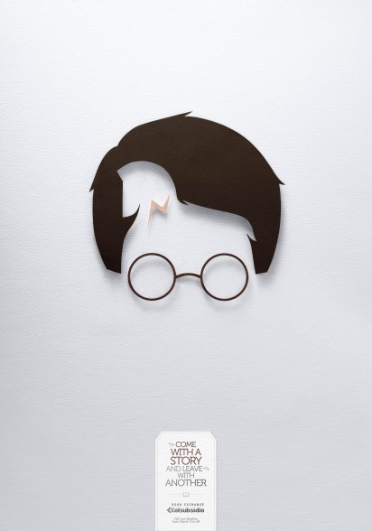 "Fantastic optical illusion print ads for Coolsubsidio Book Exchange. ""Come with a story and leave with another""."