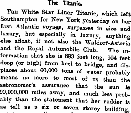 The day after the Titanic set off on her maiden voyage, the Guardian's leader writers marvelled at how far removed such first class travel was from 'old-fashioned people's ideas of a sea voyage'. Titanic was fitted out with luxurious lounges, squash courts, top restaurants and concert halls.