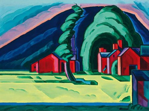 Oscar Floranius Bluemner: Illussion of a Prairie, New Jersey (Red Farm at Pochuck) (1915)
