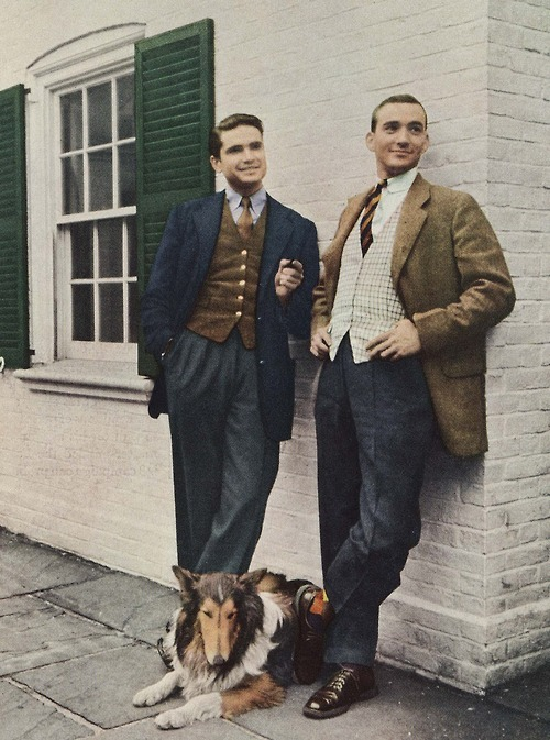 thehauntedballroom:  3-pieces suits revisited (late 1950's).