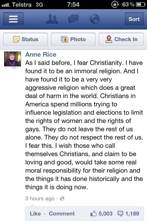 hatefulatheist:  This from a woman who was Christian, left Christianity, went back, and ended up leaving it again. She has certainly studied it inside and out.
