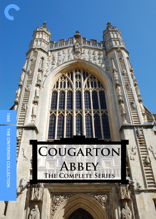 "Cougarton Abbey: The Complete Series, (1998) Another entry for Fake Criterions' ""Double Fakeout"", this time from Community. Inspector Spacetime is the one that became meme-tastic, and rightly so, but I have a soft spot for parodies of British sitcoms that only last six episodes and where everyone kills themselves at the end (oops, FICTIONAL TV SHOW SPOILER ALERT). The photo, by the way, is of Bath Abbey and was taken from here."