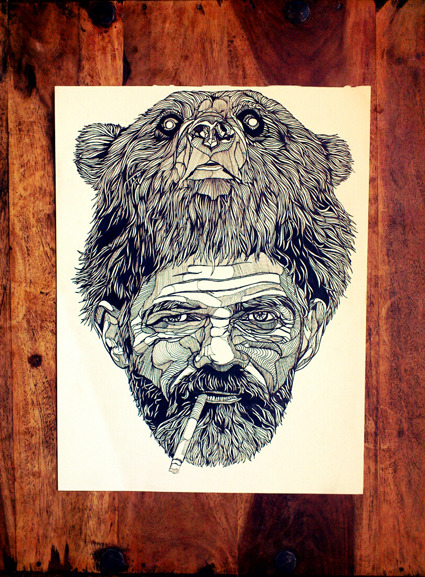 lukedixonart:  Original 'BadBearDay' Ink Drawing // £300 THEBEARHUG.COM