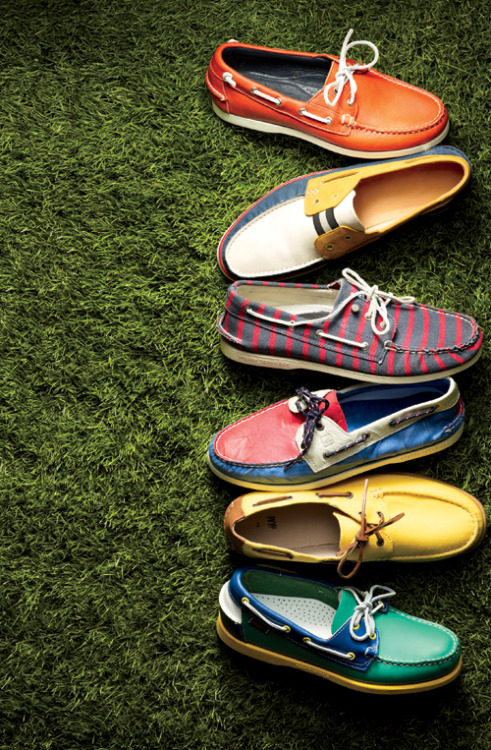 gqfashion:  The Boat Shoe's Next Wave Boat Shoes 3.0: We're talking tri-tone colorways, neon yellow soles, and jailhouse stripes.