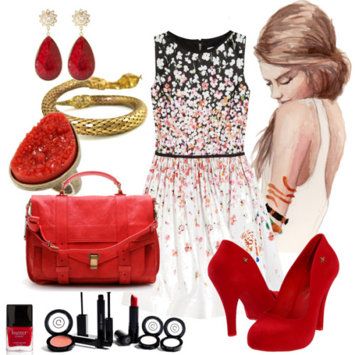 Aries by cynthia-coffield featuring wide heelsRED Valentino floral dress, $795Vivienne Westwood wide heels, $180Proenza Schouler leather bag, $1,995Amrita Singh long post earrings, $100Coral ring, $13Vintage rhinestone jewelryGee Beauty matte makeup, 134 CADButter London 3 Free Nail Lacquer - Come To Bed Red, $14