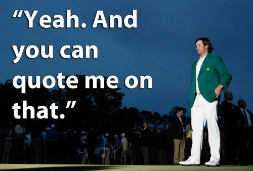 "jennadaily:  Another Reason To Love Bubba Watson: In an anonymous survey of 40 PGA Tour pros back in March 2011, Golf Magazine asked golfers about the traditions, course, and environment of Augusta National. The most interesting question they asked, though, was: ""Does it bother you that the club's membership excludes women?"" 90% of respondents answer ""No,"" and 10% — that's four of the 40 golfers polled — answered ""Yes."" One of those who answered yes was eventual 2012 champ Bubba Watson. via"