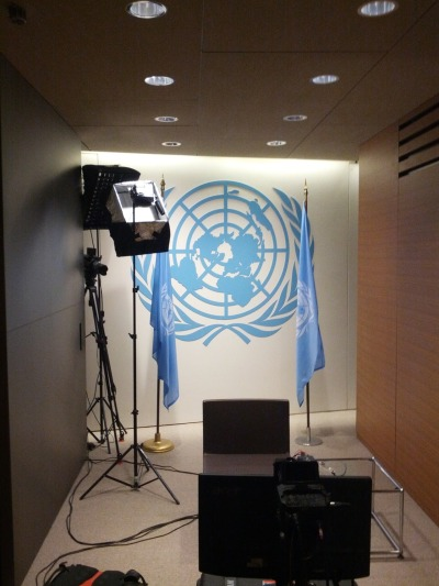 united-nations:  We're making last-minute preparations for today's Google Plus hangout with Secretary-General Ban Ki-moon!  Above is a sneak peek of the set! More information:  Google blog post Watch live on YouTube at 3:30 pm EST! Related video United Nations on Google+  Six young people will join from the United States, Europe, Asia, Africa, the Middle East and South America, and have the opportunity to ask questions on the issues that matter to them.